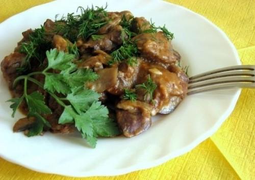 Рецепт куриная печень с грибами в мультиварке