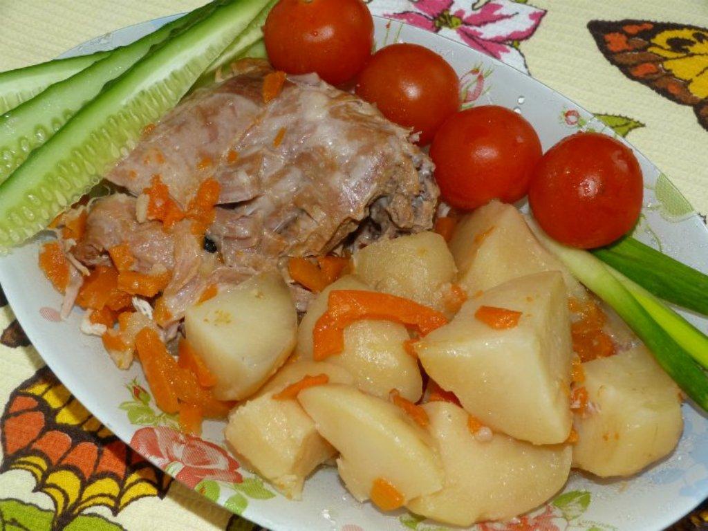 тушеная картошка с печенью куриной в мультиварке
