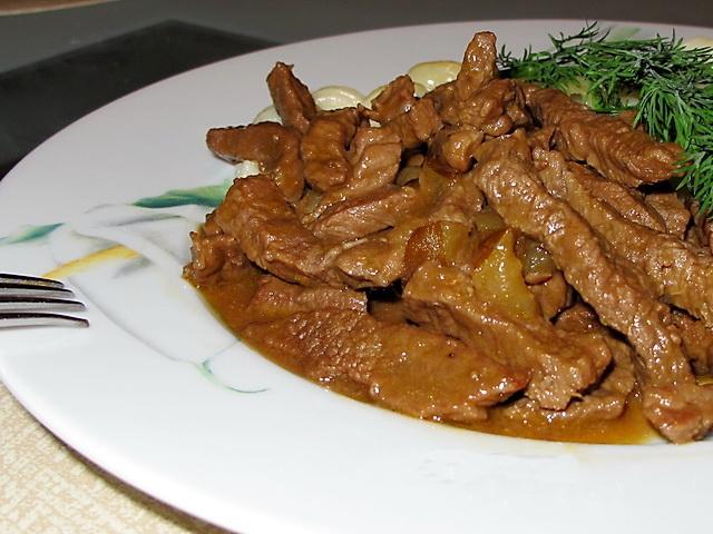 рецепт блюд из мяса свинины бефстроганов