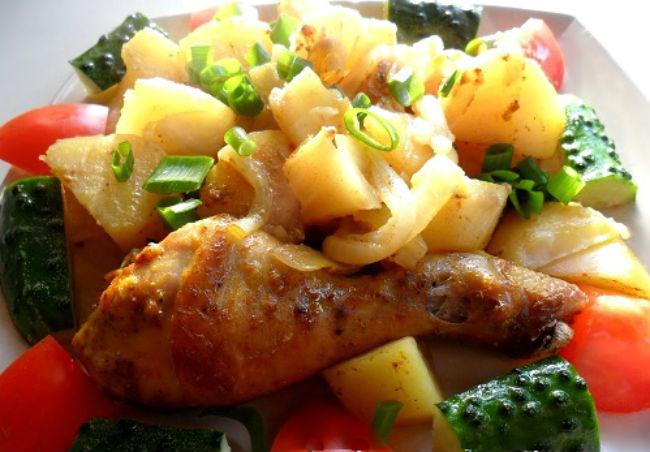 Хрустящие куриные ножки с картошкой в духовке рецепт