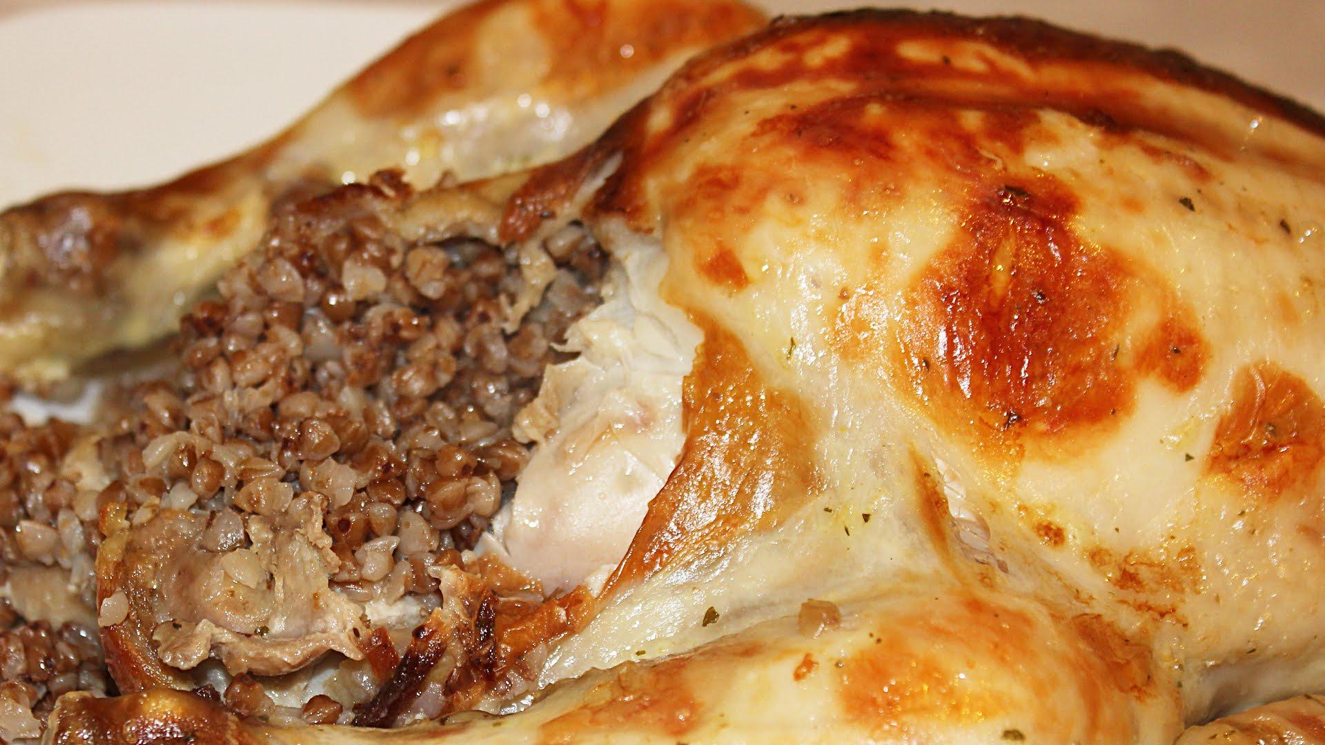 Запеченная фаршированная курица гречкой в духовке рецепт