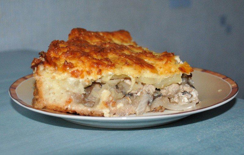 Пирог с грибами и картошкой в мультиварке пошаговый рецепт