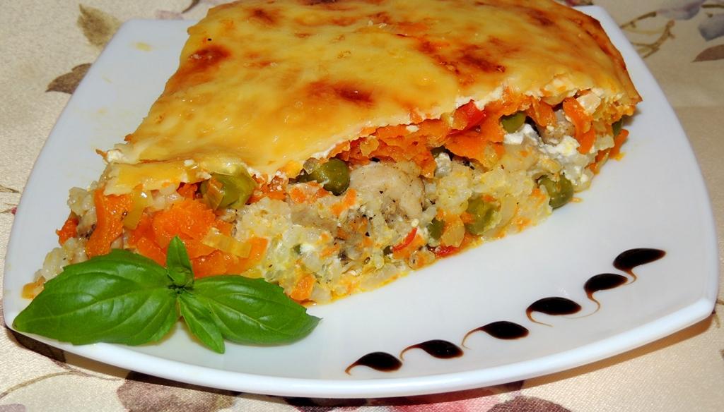 Запеканка с курицей и рисом в духовке рецепт с пошагово