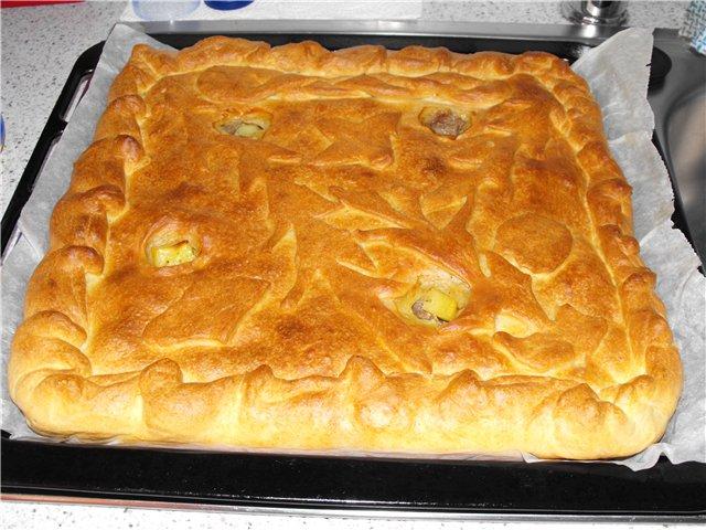 Пирог с мясом и картошкой рецепт с наливной