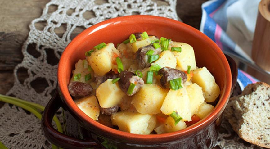 сердечки куриные с картошкой в мультиварке рецепт с фото