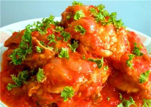 Чахохбили с томатной пастой в мультиварке
